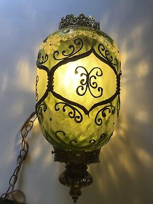 Vintage Victorian Hanging Painted Glass Fixture Green