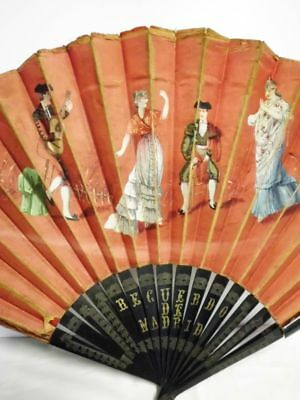 Fächer-handbemalt+bestickt-Souvenir-Madrid-Spain-1900-handpainted+embroidery fan