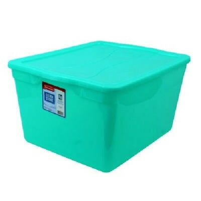 Brand New 4/Pack Rubbermaid 3Q34 Clever Store 71 Qt Teal Tote w/ Snap-Tight Lid