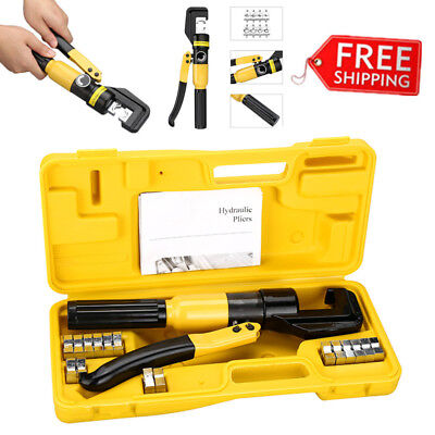 10 Ton 8 Dies Hydraulic Wire Crimper Tool Kit Crimp Lug Battery Cable Terminal