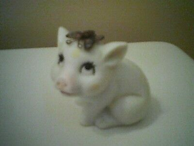 Vintage White Porcelain Pig with Metal Butterfly On Head
