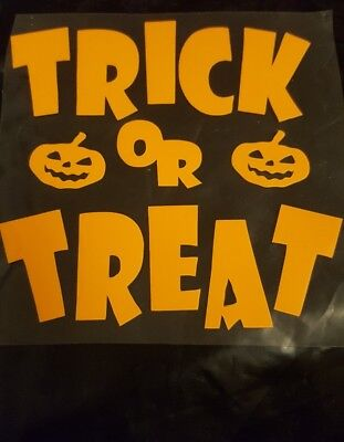 New Trick or Treat Halloween iron on transfer with Pumpkin can do other colours