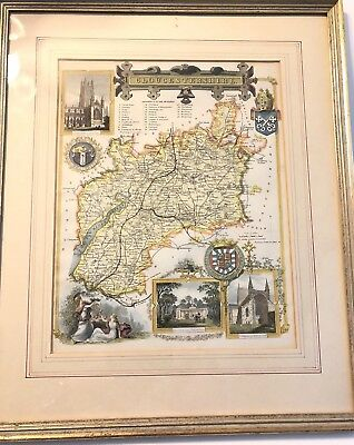 "Antique map of Gloucestershire England 1836 by Thomas Moule -  16"" x 12"" Print"