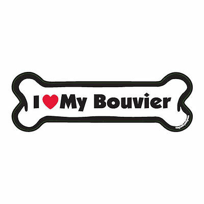 I Love My Bouvier des Flandres Dog Bone Car Magnet