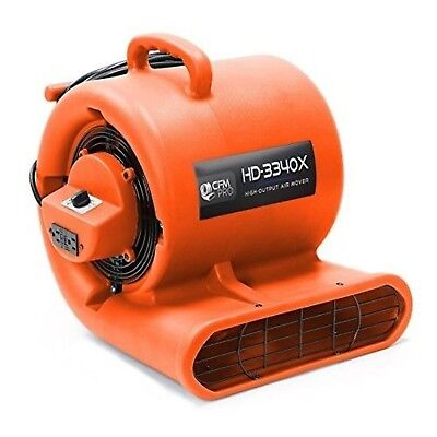 CFM Pro Air Mover Carpet Floor Dryer 3 Speed 1 HP Blower Fan - Stackable Orange