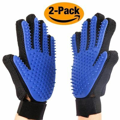 1 Pair Pet Grooming Gloves Brush Dog Cat Hair Remover Mitt Massage Shedding US