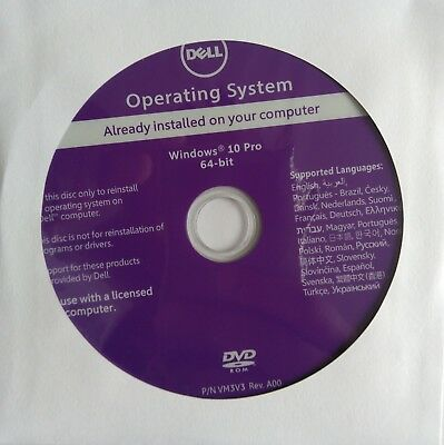 GENUINE Original DELL WINDOWS 10 PRO PROFESSIONAL  Installation DVD 64 bit