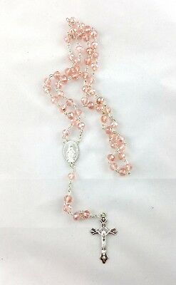 6 X Crystal Glass Rosary Beads Necklace - Pink