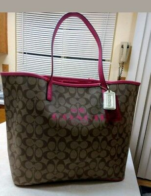 New Large Coach Handbag Tote Leather Peyton Brown And Pink Signature Coach Bag
