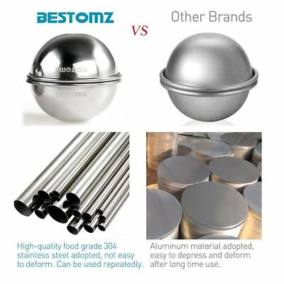 8pcs Stainless Steel Round Ball Bath Bomb Mold Mould Fizzy Sphere DIY Craft Set