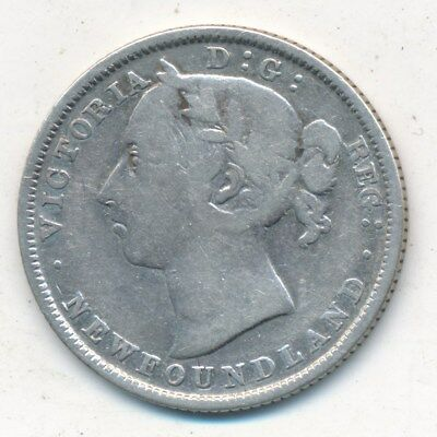 1882 New Foundland Silver 20 Cent Twenty Cent Piece-Nice Circulated-Ships Free!