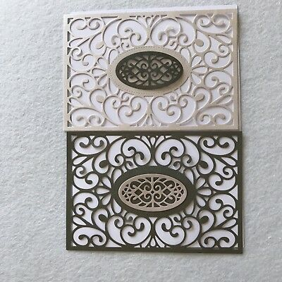 2 Scroll Paper Die Cuts Scrapbooking Card Topper Embellishments With Oval Centre