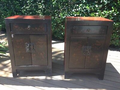 Antique Chinese Bedside Cabinets Red Lacquer