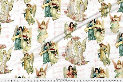 Christmas Angels Victorian Music Stars Pink Fabric Printed by Spoonflower BTY