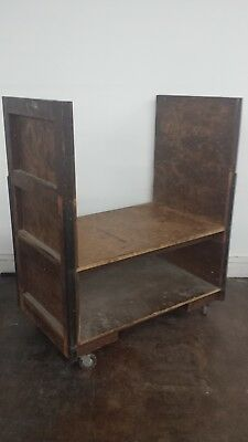 Vintage Wooden Industrial Cart Truck material container  Large Rolling