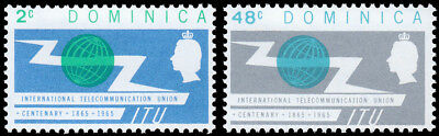 Dominica Scott 185-186 - Intl. Telecommunications Union (1965) Mint NH VF C