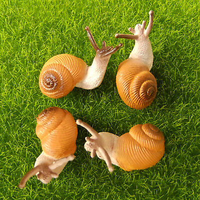 4 pcs Small Snail Cute Lifelike Fairy Garden Terrarium Decor Figurine Animal Toy