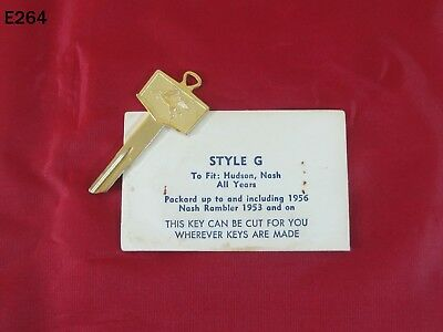 Vintage Nash Hudson Packard Style G Key Blank Mobil Oil Pegasus Gold Auto Rare