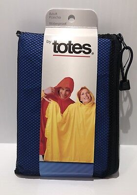 Totes Isotoner Rain Adult Poncho Unisex One Size Royal Blue Mesh Bag Side Snaps