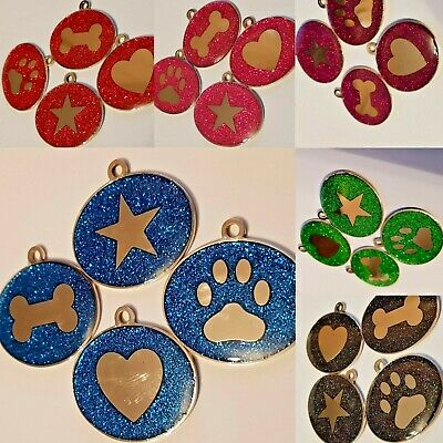 Luxury Glitter Stainless Steel Dog tags 6 colours & 4 logos BLING for dogs