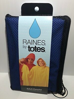 Raines by Totes Rain Adult Poncho Unisex One Size Royal Blue Mesh Bag Side Snaps