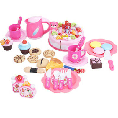 Unique 80Pcs Pink Pretend Role Play Kitchen Toy Birthday Cake Food Cutting Set #
