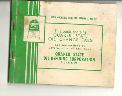 Vintage Ouaker State Motor Oil Change Tabs Booklet Oil City Pa
