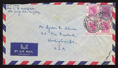 A most unusual cover from Hong Kong addressed to US Vice President Johnson 1961