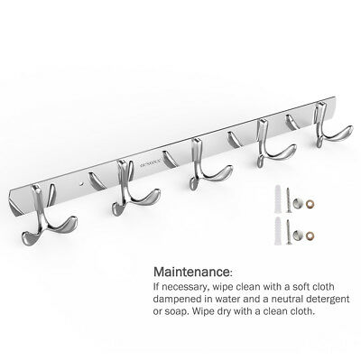 Wall Mounted 5 Hangers Coat Rack Stainless Steel Clothes Keys Bags Hooks Holder