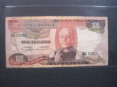 Angola 100 Escudos 1972 P101 22# World Currency Paper Money Banknote