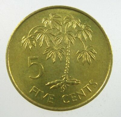 Seychelles 5 Cents 1982 Brass Maniok Plant Unc 32# World Money Coin