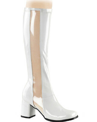 White Patent With Clear Stripe Go Go Womens Boots