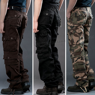 Mens Military Army Pocket Work Straight Camo Cargo Combat Pants Trousers Gift AU