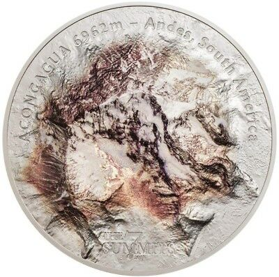 2018 5 Oz Silver Cook Island $25 ACONCAGUA SOUTH AMERICA ANDES, 7 Summits Coin.