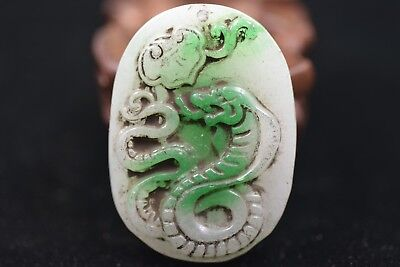 Antique Chinese Hand carved aristocratic wearing Jadeite jade pendant P134