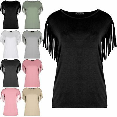 Women's Ladies Short Sleeve Blouse Casual Top Fringe Summer Loose Tee T Shirt