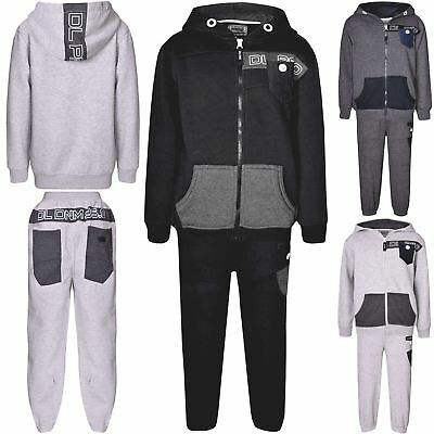Kids DL Project Contrast Button Fleece Hoodie Bottom Jogger Sports Tracksuit Set