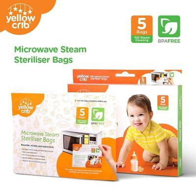 Microwave Steam Sterilizer Bag (5 Pcs) Steam Bags for Baby Bottles, Soothers