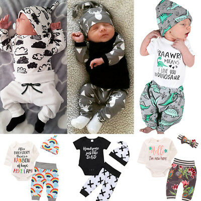 UK STOCK Newborn Baby Boys Girls Tops Romper Jumpsuit Long Pants Outfits Clothes