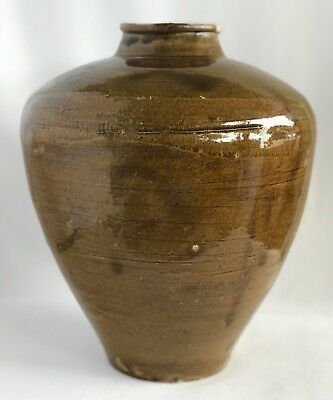 Qing Dynasty 18th-early 19th Century Daoguang Olive Green Large Jar 31cm Height