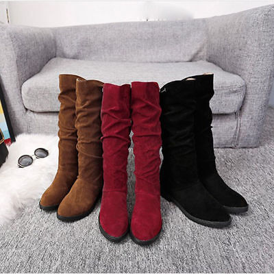 US Women Winter Mid Calf Boots Slouch Warm Platform Heel Snow Pull on Shoes