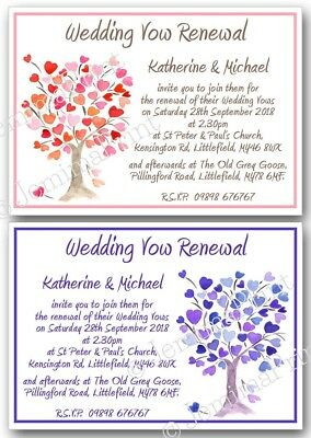 Personalised Invitations Wedding Vow Vows Renewal Engagement
