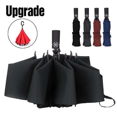Windproof Travel Umbrella Compact Folding Reverse Umbrella Automatic Open Close