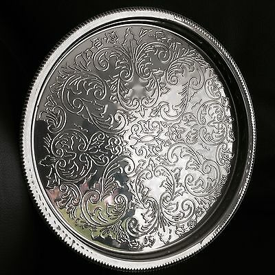 "Superb Quality Ornate English Edwardian Silver Plated 11"" /27cm Round Tray"