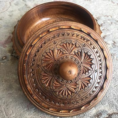Small Vintage Intricate Spanish Hand Carved & Lacquered Hardwood Trinket Box