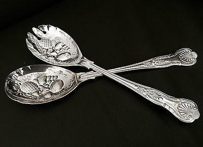 "Antique Ornate Heavy English Edwardian 9""/24cm Silver Plated Serving Sets"