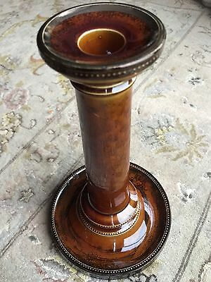 "Rare Hand-Painted Victorian English ""Wardle"" Treacle Glazed Pottery Candlestick"