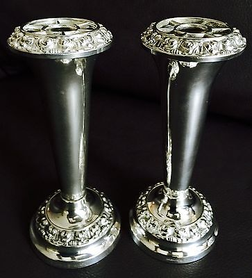 Pair of Superb Vintage Ian Heath Ltd (IANTHE) English Silver Plated Bud Vases