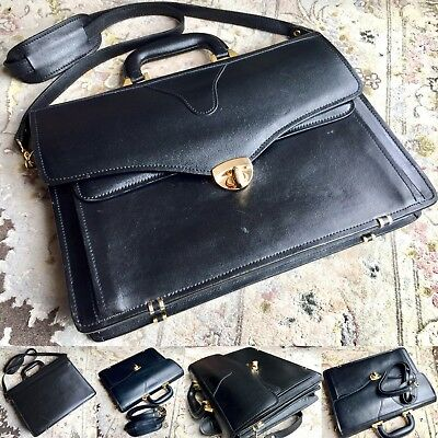 """Ladies """"Tula"""" By Radley Black Leather Briefcase / Handbag & Gold Plated Fittings"""