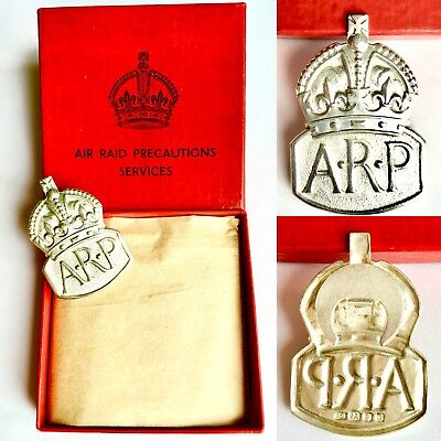 WWII (1939) Hallmarked Sterling Silver Air Raid Precautions (ARP) Services Badge